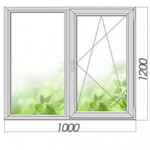Окно двухстворчатое с поворотно-откидной створкой 1200*1000, 3 стекла