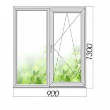 Окно двухстворчатое с поворотно-откидной створкой 1300*900, 3 стекла