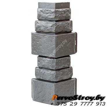 Угол для цокольного сайдинга Wellbeen Дикий камень - Камень Серый - изображение 1