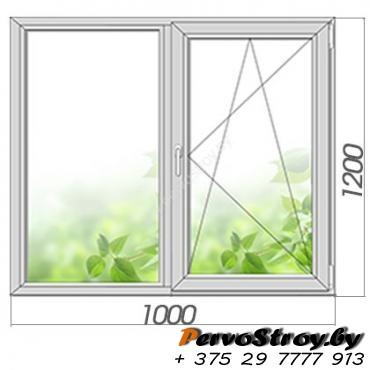 Окно двухстворчатое с поворотно-откидной створкой 1200*1000, 3 стекла - изображение 1