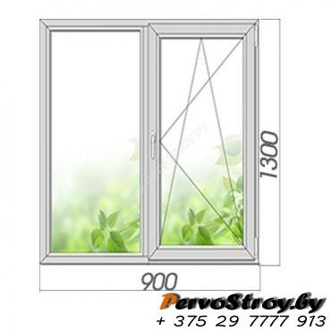 Окно двухстворчатое с поворотно-откидной створкой 1300*900, 3 стекла - изображение 1