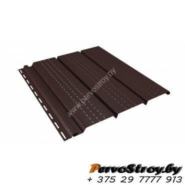 Софит коричневый полностью перфорированный Ю-пласт - изображение 1